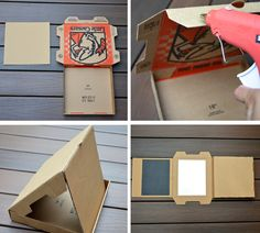 DIY pizza box chalk board and dry eraser board for the kids pg 2