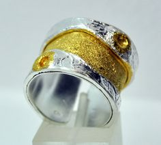 Sterling silver ring 925 silver and gold wide band by silverjewelrygr etsy #handmade Greece jewelry Byzantine