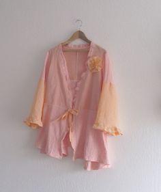 Bohemian  Linen and Cotton Spring Summer Coat Dress/ by KheGreen, $55.00