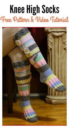 New Crochet Socks Free Pattern Knee Highs Leg Warmers Ideas – Knitting Socks İdeas. Crochet Socks Tutorial, Crochet Sock Pattern Free, Free Crochet, Crochet Patterns, Free Pattern, Stitch Patterns, Knitting Patterns, Crochet Boots, Crochet Gloves