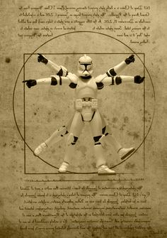 Photographer David Eger uses a collection of Star Wars Clone Trooper figurines, plus other characters from the film, to recreate famous historical and important images in his Cloned Photos series. This collection is a miniseries of his daily 365 Days of Clones series and has now continued with his 52 Weeks of Star Wars. This image is Vitruvian Trooper.