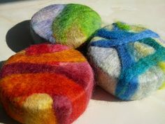 Shows you how to make wool covered soap use as a washcloth rub this on your skin with the soap this is awesome I've made theses very easy Wet felting soap