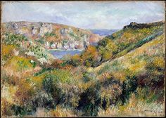 August Renoir (French, 1841–1919). Hills around the Bay of Moulin Huet, Guernsey, 1883. The Metropolitan Museum of Art, New York. Bequest of Julia W. Emmons, 1956 (56.135.9) | During his trip in late summer 1883 to the English Channel island of Guernsey, Renoir painted about fifteen views of the bay and the beach of Moulin Huet, on the island's rocky southern coast.