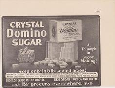 Free Vintage Clipart, Vintage Magazine Ads and Vintage Artwork Perfect for Home & Man-Cave Decor: Vintage 1906 Domino Sugar 5 lb. Sealed Box Original Print Ad Beverage Sweetener