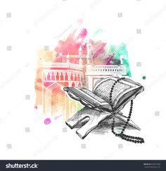 The holy book of the Koran on the stand, Hand Drawn Sketch Vector illustration. Quran Wallpaper, Love Quotes Wallpaper, Poster Background Design, Love Background Images, Islamic Art Pattern, Pattern Art, Islamic Calligraphy, Calligraphy Art, Poster Ramadhan