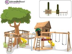 We have 1 half of this...maybe change location and use tree? #outdoorplayhouseideas