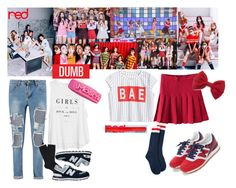"""""""Red Velvet - Dumb Dumb"""" by marissa-malik ❤ liked on Polyvore featuring Forever 21, Dsquared2, MANGO, Falke, Moschino and New Balance"""