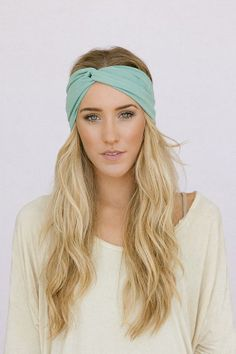 Mint Turband Headband Fresh Green Stretchy Workout Fashion Turban Hair Band Womens Fashion Hair Accessories Workout Headband