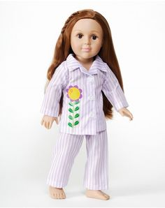"""""""Bedtime"""" Lilac Pajama Doll Clothes Set For 18-Inch Play Doll"""
