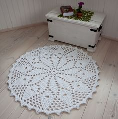 Round white doily rug - handmade rug - crochet cotton rug - floor rug - carpet - lace rug - home decor 115 cm / 45,3 inches