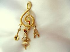 Vintage Musically Themed Treble Cleff Brooch by VJSEJewelsofhope, $10.00