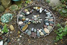 Pebbles are tightly fit together so that the mortar doesn't show Gold and Black alternating bands of Mexican Bea...
