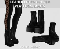 LeahLillith's Mulder Platform Boots at Hallow Sims via Sims 4 Updates  Check more at http://sims4updates.net/shoes/leahlilliths-mulder-platform-boots-at-hallow-sims/