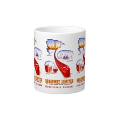 Pennsylvania Railroad Broadway Limited Streamliner Jumbo Mugs - It was an all Pullman Car Private room Luxury Streamliner