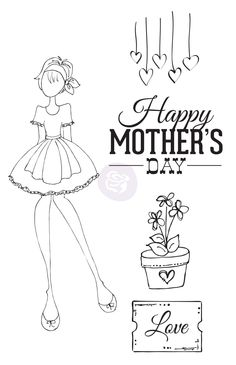 4x6 Cling Stamp - Mama's Day