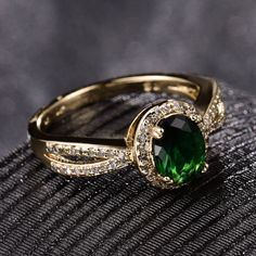 $2.99 - Lovely 68Mm Oval Emerald Green Sapphire 18K Gold Filled Women Lady Party Rings #ebay #Fashion