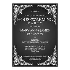Housewarming Party Vintage Swirls Black Custom Invitation