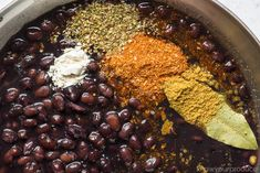 Mexican Black Beans black beans in a skillet with seasonings Fresh Black Beans Recipe, Seasoned Black Beans Recipe, Dried Black Beans, Black Beans And Rice, Black Bean Recipes, Canned Black Beans, Veggie Recipes, Mexican Food Recipes, Vegetarian Recipes