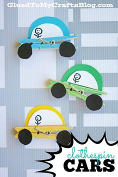 Inspired by my car loving little boy – this Clothespin Cars Kid Craft idea is perfect for kids who love anything with wheels as much as we… kids' crafts Fun Crafts For Kids, Summer Crafts, Toddler Crafts, Diy For Kids, Craft Kids, Cars For Kids, Glue Crafts, Easy Crafts, Diy And Crafts