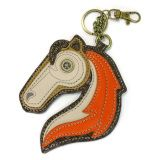 "Chala Horse - Key Fob Conveniently small, fun, and functional. Hold your keys with style!    Horse with detailed stitching and metal button eye  Textured faux leather trim  Features antique brass toned hardware  Materials used: Synthetic leather Color: Orange/Tan Approx. Measurements: 4.5"" x 0.25"" x 5""  Designed in California, USA.  Made in China Colors may not be exactly as pictured. Lining patterns may vary."