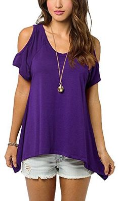 Women Sexy Blouses and Tops Dew Shoulder Shirts V Neck Tank Tops Purple M * Continue to the product at the image link.
