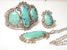 Three Piece Turquoise Set  Cuff Ring Necklace by WatchandWares