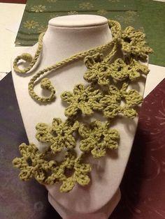 Daisy Country Green Handmade Crochet Necklace by joywelry2love