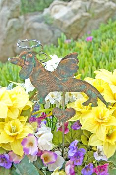 Dachshund Angel Dog Garden Stake / Pet Memorial / Pet Grave Marker / Metal Yard Art / Garden Copper Art / Wiener Dog / Dachshund Sculpture by GardenCopperArt on Etsy
