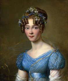 Muslin Dress, Victorian Paintings, Country Wear, Hair Reference, Regency Era, Portraits, Historical Clothing, Female Portrait, Blue Hair