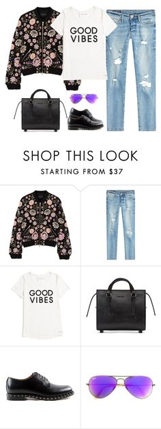 """""""Street style"""" by nadiaamrc ❤ liked on Polyvore featuring Needle & Thread, True Religion, Tommy Hilfiger, Rick Owens, Valentino and Ray-Ban"""