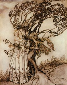 Arthur Rackham - Illustration from The Old Woman in the Wood
