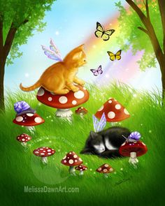 """Spring Meadows - """"This playful orange kitten and sweet sleeping tuxedo kitten enjoy the arrival of spring along with their butterfly and snail friends."""" by Melissa Dawn (OMG! Kitten fairies and mushrooms!  I think I just found my new favorite artist!)"""
