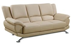 Cappuccino Chrome Leather Bonded Leather Metal Sofa