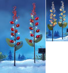 Fiber Optics Holiday Ornaments Garden Stake