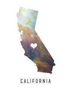 California Love - 8x10 - California, Galaxy, Space, Heart, Love, Office, Wall, Home Decor, Type, State