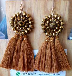 Wire Wrapped Jewelry, Wire Jewelry, Beaded Jewelry, Jewelery, Beaded Earrings, Earrings Handmade, Handmade Jewelry, Thread Jewellery, Fabric Jewelry