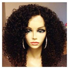 LUFFY Glueless Human Curly Lace Front Wigs Virgin Brazilian Hair Short... ❤ liked on Polyvore featuring luffy