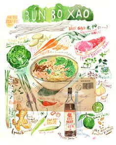 Vietnamese Bun Bo Xao recipe watercolor illustration print