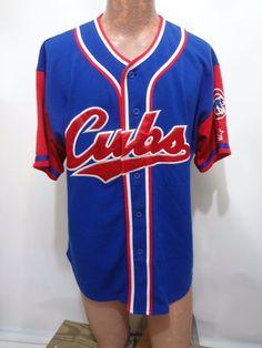 Chicago Cubs Baseball MLB Starter Blue Jersey Mens Size L #Starter #ChicagoCubs