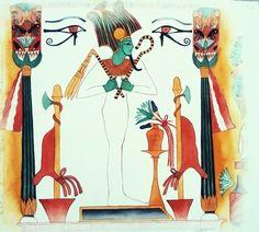 Osiris (reproduction de peinture murale). Aquarelle, Christine Monsion