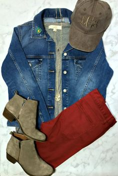 Cute fall outfit for Mom on family outings.   Monogrammed baseball hat and enamel pin by Lillian and Lloyd LLC.   Jacket, tee, pants and necklaces from Ann Taylor Loft.   Booties by Lucky Brand.