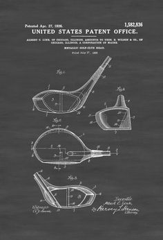 A patent print poster of a Metallic Golf Club Head invented by Albert C. Link…