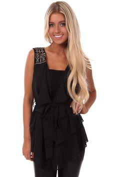Lime Lush Boutique - Black Drape Vest with Studded Shoulders, $34.99 (http://www.limelush.com/black-drape-vest-with-studded-shoulders/) #pretty #swag