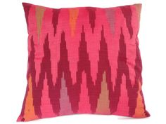 Ikat Pillow Cushion Cotton Handwoven 16x16 Pink by ginette1223, $23.00