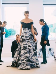 Final fittings with Karlie Kloss for her Fall '15 finale gown