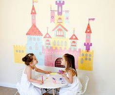 Pop & Lolli Create-a-Castle Wall Decal Size: Medium Wall Stickers, Wall Decals, Balloon Arch Diy, Washi Tape Wall, Castle Gate, Eco Kids, Princess Drawings, Personalised Canvas, Textiles