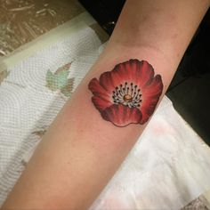 Little poppyflower tattoo by @annasandbergtattoo . #umeå #vallmo #poppyflower #floraltattoo