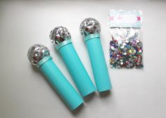 Items similar to Craft Kit for Kids, Bling Your Microphone Craft, Pop Star Party Favors, Aqua Blue, Set of 3 on Etsy Rockstar Birthday, Dance Party Birthday, 12th Birthday, Karaoke Party, Microphone Craft, Pop Star Party, Craft Kits For Kids, Stars Craft, Barbie Party