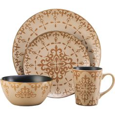Found it at Wayfair - Vintage Scroll Everyday 16 Piece Dinnerware Set, Service for 4
