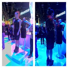 Technology and fashion merged with a 3D printed dress with a cool mechanism on the back that moves according to your heartbeat- created with Real Sense technology!  #CES2016 #Intel #3dprinting #fashion by chickamungus